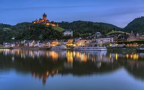 Картинка огни, река, замок, дома, Германия, Кохем