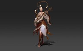 Картинка Girl, Fantasy, Art, Music, Style, Illustration, Minimalism, Figure, Character, Musical Instrument, Hyeon Gwan Nam, Pipa, …