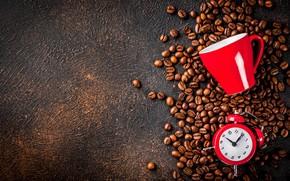 Картинка фон, часы, кофе, кофейные зерна, шашка