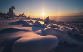 Картинка Закат, Зима, Горы, Бархан, Снег, Мороз, Тени, Склон, Сугробы, Светило, Глухозимье