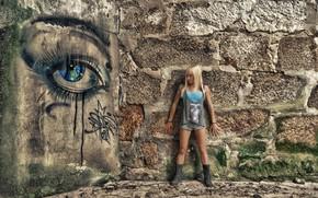 Картинка девушка, стена, граффити