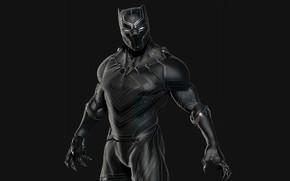 Картинка фон, ожерелье, маска, костюм, чёрный фон, комикс, Marvel Comics, suit, чёрная пантера, Black Panther, вибраниум