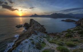 Картинка закат, берег, побережье