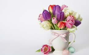 Картинка ваза, тюльпаны, пасха, colorful, весна
