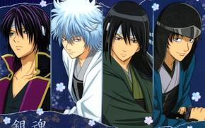Картинка доспехи, парни, самураи, Gintama, Sakata Gintoki, Takasugi Shinsuke, Katsura Kotaro, Гинтама, Гинтоки Саката, Sakamoto Tatsuma