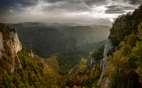 Картинка осень, пейзаж, горы, тучи, природа, туман, леса