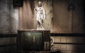 Картинка фон, телевизор, статуя