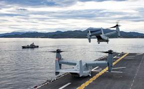 Картинка Море, Конвертоплан, Норвежское море, US NAVY, MV-22B Osprey, US Marine Corps, ВМС Норвегии, HNoMS Storm …