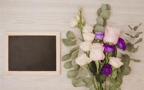 Картинка цветы, розы, букет, рамка, pink, flowers, purple, roses, эустома, frame, eustoma