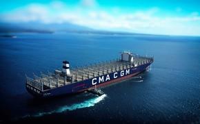 Обои Море, Судно, Контейнеровоз, Буксир, Пустой, Vessel, Грузовое судно, Container Ship, Tug, Балласт, M/V CMA CGM ...