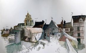 Картинка город, рисунок, дома