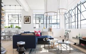 Картинка дизайн, стиль, Лондон, интерьер, гостиная, столовая, London Loft