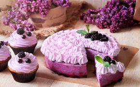 Картинка ягоды, торт, cake, десерт, выпечка, сирень, ежевика, sweet, кексы, pie, lilac, baking
