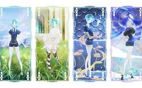 Картинка коллаж, аниме, арт, houseki no kuni, phosphophyllite