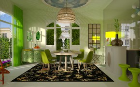 Картинка комната, интерьер, столовая, green dining room