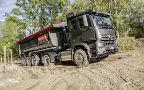 Картинка Mercedes-Benz, грязь, грунт, тягач, самосвал, 4x2, Arocs, полуприцеп