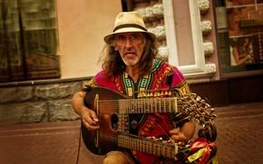 Картинка guitar, hat, Moscow, musician, emotions, Kide Fotoart, Sergei Sadov, Arbat