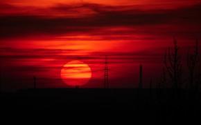 Картинка небо, солнце, закат, красота, вечер