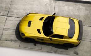 Картинка Mercedes-Benz, Авто, Желтый, Машина, Mercedes, SLS AMG, AMG, Вид сверху, SLS, Рендеринг, Black Series, Mercedes-Benz ...