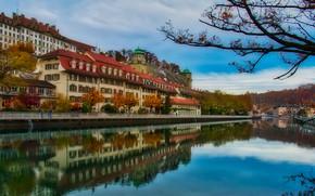 Картинка осень, река, здания, дома, Швейцария, Ааре, коммуна, Бюрен-на-Ааре