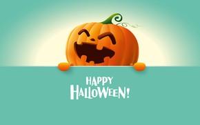 Картинка simple background, artwork, minimalism, digital art, happy, holidays, Halloween, smiling, pumpkin