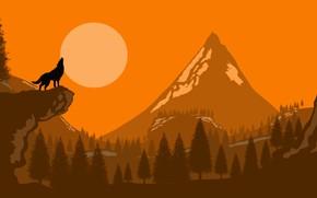 Картинка moon, forest, trees, art, mountain, rocks, Wolf, digital art, artwork, silhouette, howling