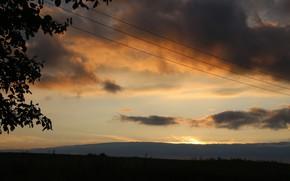 Картинка небо, закат, тучи, деревня, Беларусь, моё фото, Сухари