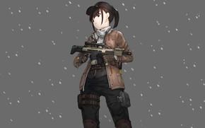Картинка девушка, снег, оружие, фон