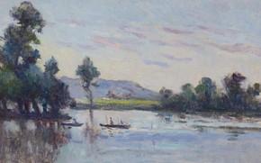 Картинка картина, Речной Пейзаж, Максимильен Люс, Maximilien Luce
