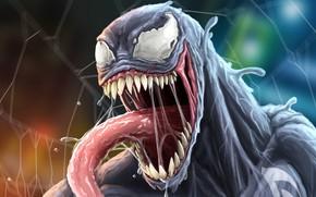 Картинка язык, паутина, пасть, комиксы, злоба, Веном, Venom, симбиот