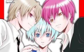 Картинка аниме, арт, парни, трио, Ansatsu Kyoushitsu, класс убийц