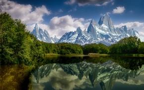 Картинка облака, деревья, пейзаж, горы, природа, озеро, отражение
