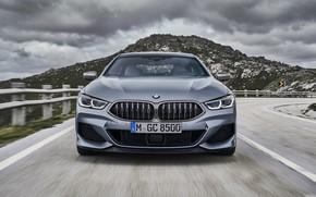Картинка купе, гора, BMW, вид спереди, Gran Coupe, 8-Series, 2019, четырёхдверное купе, 8er, G16, серо-стальной