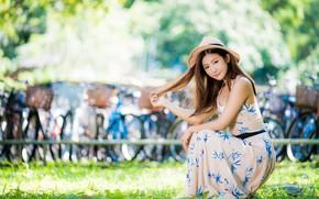 Картинка взгляд, девушка, волосы, шляпа, платье, азиатка, милашка, боке