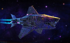 Картинка космос, транспорт, звёзды, аппарат, Errant Knight Hunter Cruiser