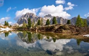 Картинка горы, озеро, Альпы, Италия, Южный Тироль, Доломиты
