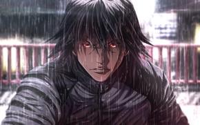 Картинка взгляд, дождь, арт, парень, Zetman
