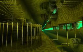 Картинка зелень, механизм, 3д графика, моделирование