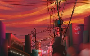 Картинка city, girl, background, dusk, digital art, artwork, drawings, illustration, paining, illustrate