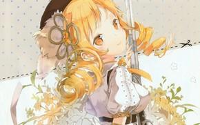 Картинка ружьё, берет, mahou shoujo madoka magica, цветок в волосах, tomoe mami, белая блузка, вполоборота, Девочка …