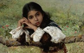 Картинка 1882, American painter, американский художник, Моменты задумчивости, Charles Sprague Pearce, Moments of Thoughtfulness, Чарльз Спарк …