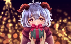 Картинка девушка, огни, подарок, елка, рожки, Genshin Impact, Ganyu