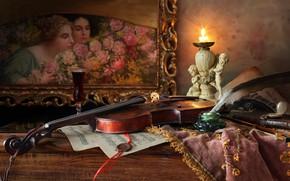 Картинка стиль, ноты, перо, скрипка, свеча, картина, натюрморт, подсвечник, чернильница
