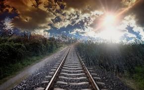 Картинка трава, свет, железная дорога