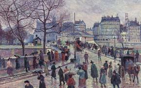 Картинка картина, 1896, городской пейзаж, Максимильен Люс, Maximilien Luce, Париж. Мост Архиепархии