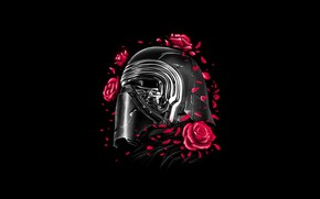 Картинка Цветы, Роза, Минимализм, Цветок, Star Wars, Стиль, Шлем, Фон, Арт, Art, Style, Background, Illustration, Sith, …