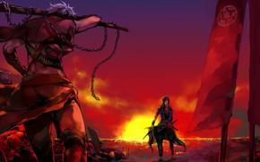 Картинка закат, парни, Sengoku Basara, Эпоха Смут