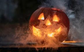 Картинка дым, тыква, хэллоуин, светильник Джека