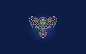 Картинка Минимализм, Сова, Птица, Стиль, Фон, Арт, Art, Abstract, Style, Color, Neon, Owl, Background, Bird, Illustration, …