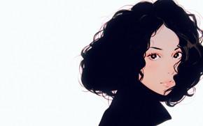 Картинка взгляд, лицо, брюнетка, воротник, кудри, портрет девушки, вьющиеся волосы, Илья Кувшинов